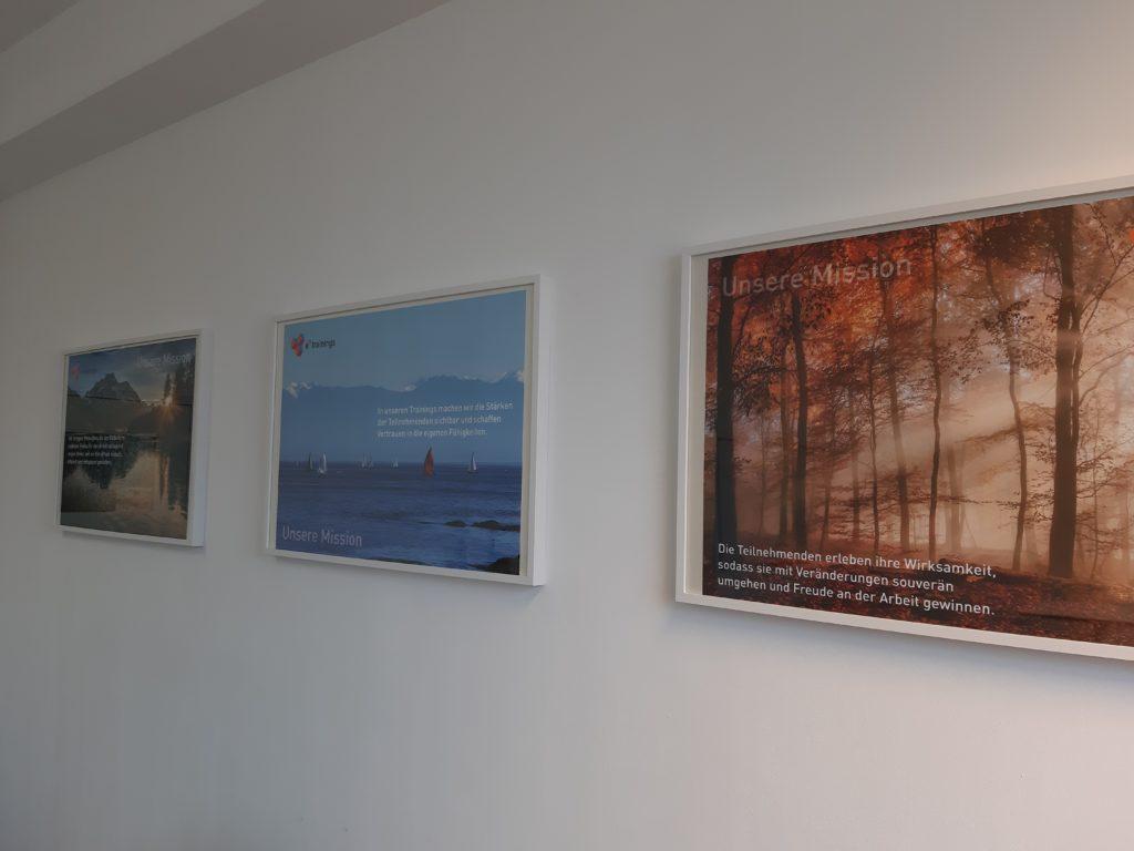 Unsere Mission als Bilder an der Wand