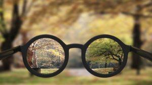 train & see online; Brille, durch die ein scharfes Bild einer Landschaft zu sehen ist. Um die Brille herum dieselbe Landschaft, aber unscharf.