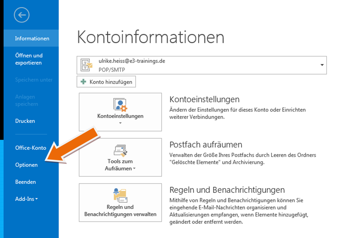 "Screenshot aus Outlook, Menü ""Datei"""