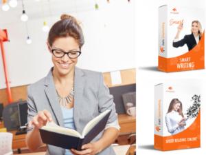 Smart Writing Online und Speed Reading Online symbolisch auf Kartonverpackungen aufgedruckt, daneben eine Frau, die ein Buch liest.